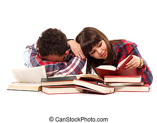 Falling asleep with exhaustion while studying - Teenage...