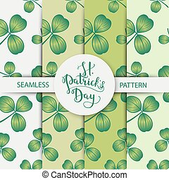 Vector seamless clover pattern set with three leaf for Saint...