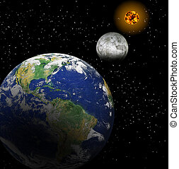 earth sun moon - Earth and Moon in front of the