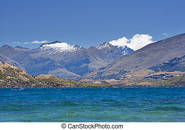 Lake Wanaka and view to Mount Aspiring snow covered...