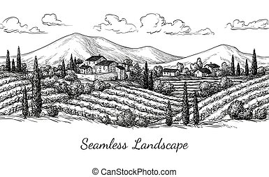 Vineyard seamless landscape. Vine sketch isolated on white....