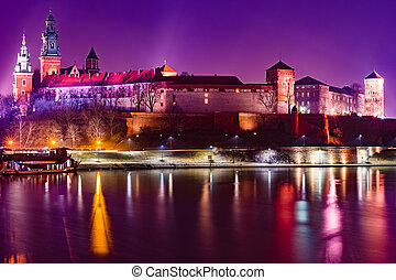 Royal castle of the Polish kings on the Wawel hill, over the...
