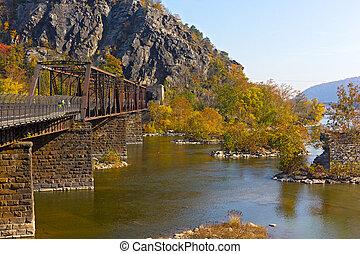 Appalachian trail crossing Shenandoah River in Harpers...