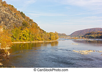 Potomac River in Harpers Ferry National park, West Virginia,...