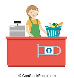 The girl cashier in a grocery supermarket. Cart full of products. Cash machine. Store employee. Flat character isolated on white background. Vector, illustration EPS10.