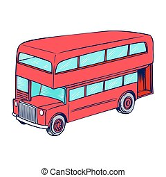 Double decker red bus, city public transport service vehicle...