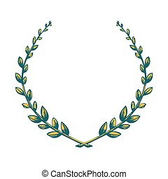 Victory laurel wreath. Color symbol icon isolated on a white...