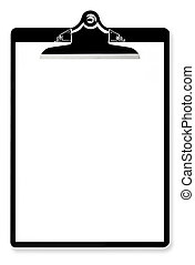 Blank Paper on Clipboard - Blank paper on black clipboard,...
