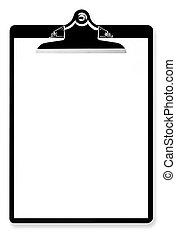 Blank Paper on Clipboard - Blank paper on black clipboard,...