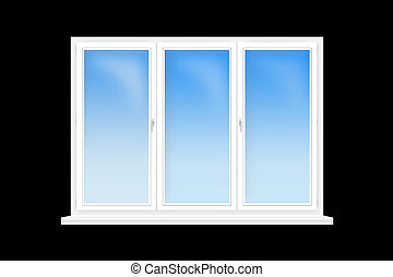 three-leaved window isolated on the black background