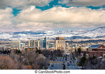 Boise City skyline winter with snow - Winter day in Boise...