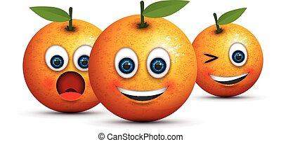 set of three oranges