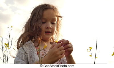 little girl standing in a field picking flowers