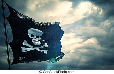 ripped tear grunge old fabric texture of the pirate skull...
