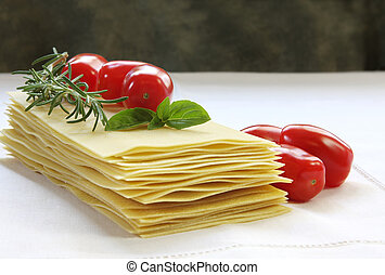 Lasagne Ingredients - Lasagne sheets ready for cooking, with...
