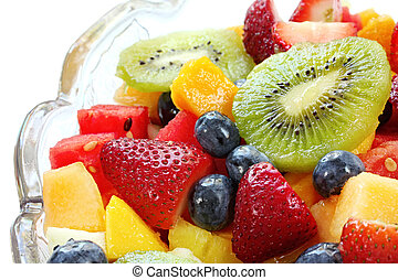 Fruit Salad - Fresh fruit salad in a crystal bowl Luscious...