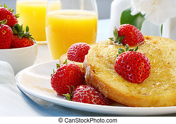 French Toast with Strawberries - French toast with ripe...