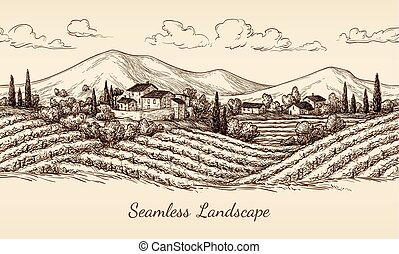 Vineyard seamless landscape.
