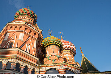 St. Basil's Cathedral on Red square in spring day. Moscow,...