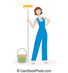 Girl painter with a paint roller and paint bucket. for repair staff. Woman construction worker finishing. Flat character isolated on white background. Vector, illustration EPS10.