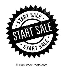 Start Sale rubber stamp. Grunge design with dust scratches....