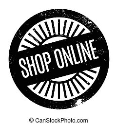 Shop Online rubber stamp. Grunge design with dust scratches....