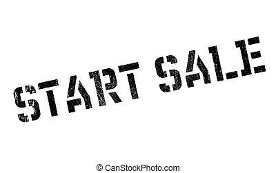 Start Sale rubber stamp. Grunge design with dust scratches....