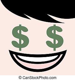 head with dollar eyes