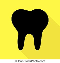 Tooth sign illustration. Black icon with flat style shadow path on yellow background.