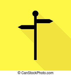 Direction road sign. Black icon with flat style shadow path on yellow background.