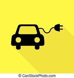 Eco electric car sign. Black icon with flat style shadow...
