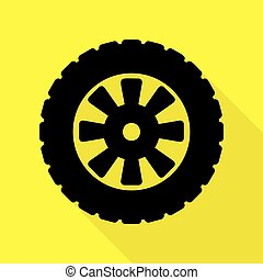 Road tire sign. Black icon with flat style shadow path on yellow background.
