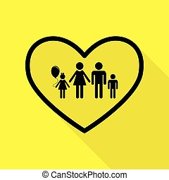Family sign illustration in heart shape. Black icon with flat style shadow path on yellow background.