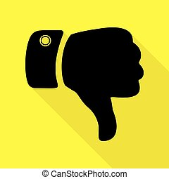 Hand sign illustration. Black icon with flat style shadow path on yellow background.
