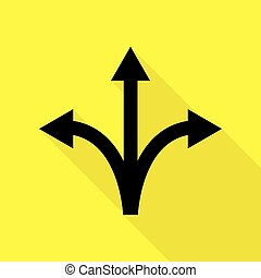 Three-way direction arrow sign. Black icon with flat style...
