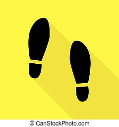 Imprint soles shoes sign. Black icon with flat style shadow...