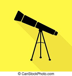 Telescope simple sign. Black icon with flat style shadow path on yellow background.