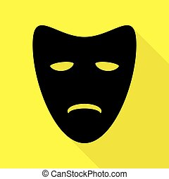 Tragedy theatrical masks. Black icon with flat style shadow...
