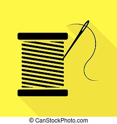 Thread with needle sign illustration. Black icon with flat...