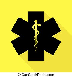 Medical symbol of the Emergency or Star of Life. Black icon...