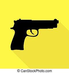 plano, estilo, Ilustración, arma de fuego, amarillo, señal,...