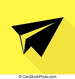 Paper airplane sign. Black icon with flat style shadow path on yellow background.