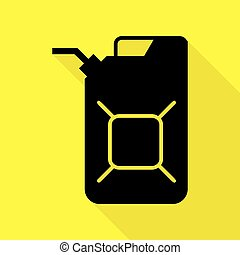 Jerrycan oil sign. Jerry can oil sign. Black icon with flat...