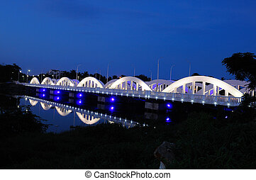 Napier Bridge - colorfully and beautifully lit bridge during...