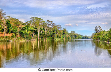Moat surrounding Angkor Thom in Siem Reap, Cambodia - Moat...