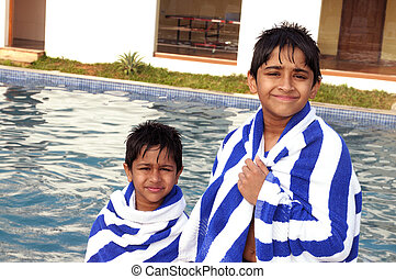 At the Pool - Handsome Indian brothers after a pool session