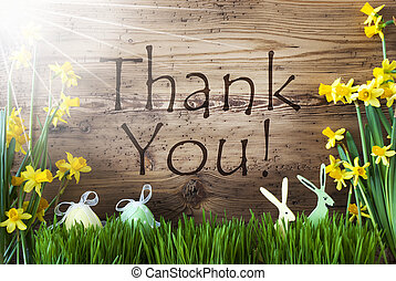 Sunny Easter Decoration, Gras, Text Thank You - Wooden...
