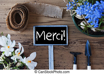 Spring Flowers, Sign, Merci Means Thank You - Sign With...