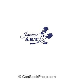 Japanese logo template with blossoming sakura branch in...