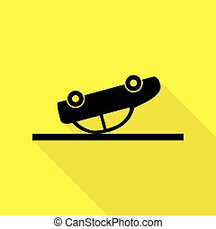 Crashed Car sign. Black icon with flat style shadow path on yellow background.